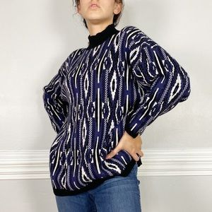 Vintage Retro Oversize Mock Neck Knit Sweater